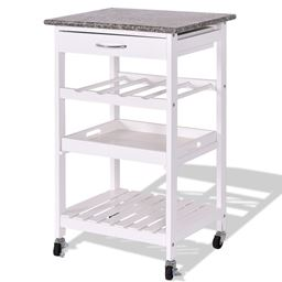 4-Tier Rolling Wooden Kitchen Island Trolley Cart