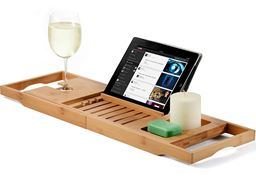 Bamboo Bathtub Caddy Tray, Wooden Bath Tray with Extending Sides, Reading Rack, Tablet Holder, Cellphone Tray, Wine Glass Slot - Gift Idea for Valentine's Day