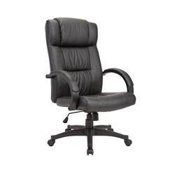 AC Pacific Modern Gas Lifted PU Leather Upholstered Adjustable Swivel Office Chair with Padded Seat and Caster Wheels, Powder Coated Black