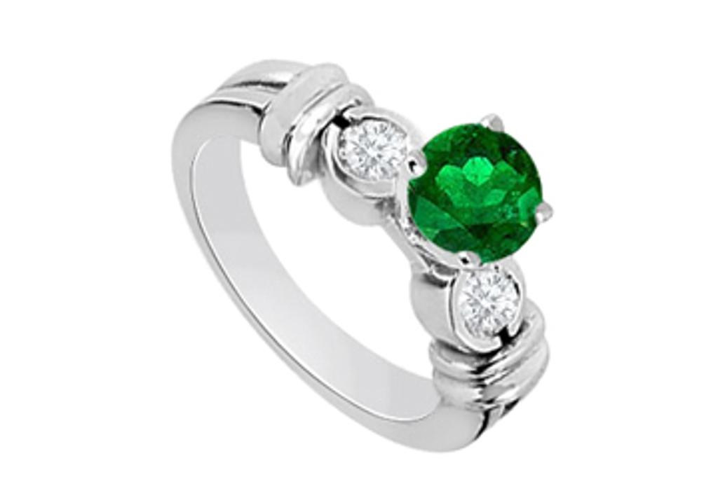 14K White Gold Engagement Ring with Created Emerald and Cubic Zirconia 1.30 Carat TGW