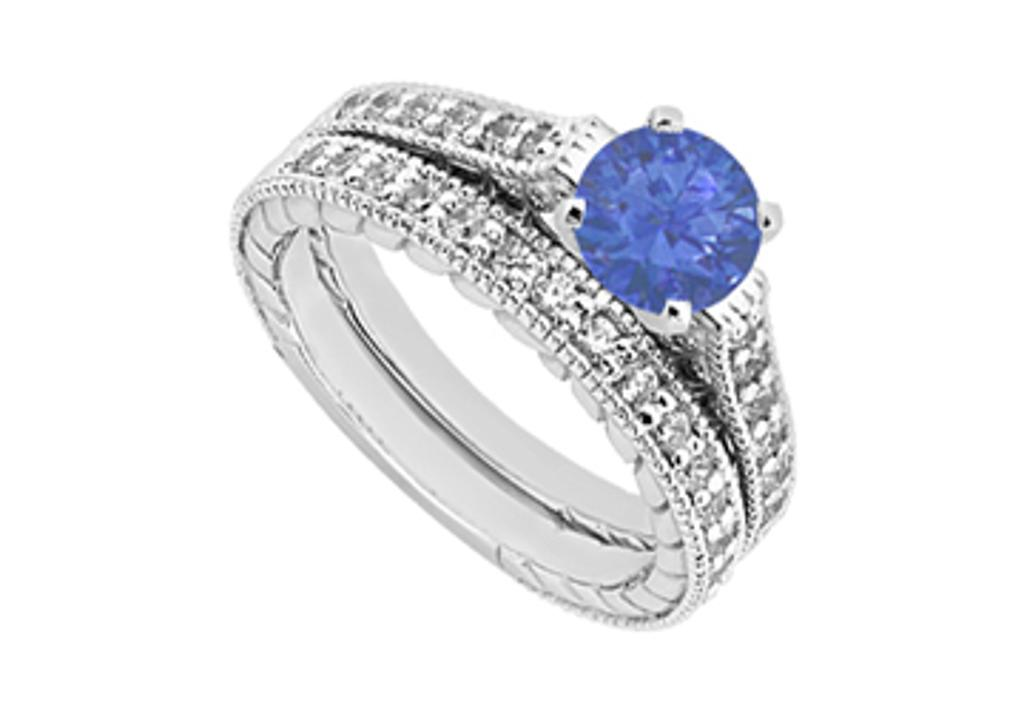 14K White Gold Engagement Ring and Wedding Band Set in CZ and Created Sapphire 1.25 CT TGW
