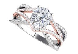 Criss Cross Two Tone Gold Ring with Round Shaped CZ
