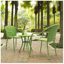 Modern Marketing Concepts KO70060GR Palm Harbor Outdoor Wicker Cafe Seating Set, Green - 3 Piece