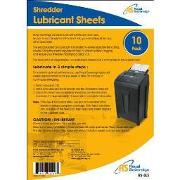 Royal sovereign international rs-sls 10pk shredder lubricant sheets