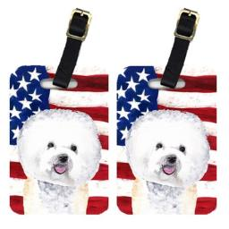 Carolines Treasures SC9014BT Pair Of USA American Flag With Bichon Frise Luggage Tags
