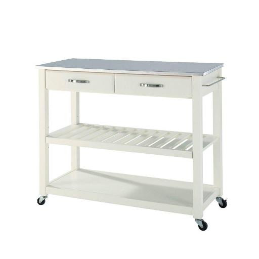 Crosley Stainless Steel Top Kitchen Cart/Island With Optional Stool Storage in White Finish