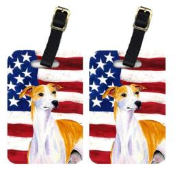 Carolines Treasures SS4246BT Pair Of USA American Flag With Whippet Luggage Tags