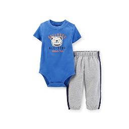 Carter's Baby Boys' Animal Bodysuit & Sweat Pants Set (Newborn, Blue-Bulldog)