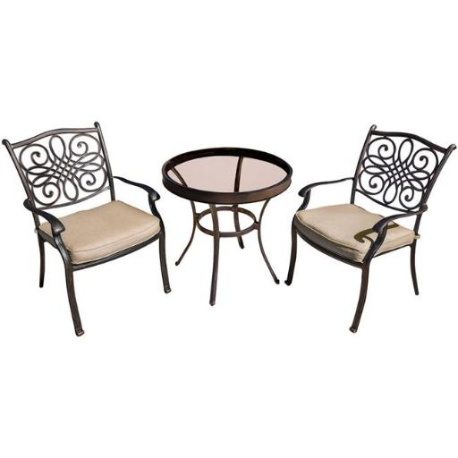 Hanover TRADDN3PCG Traditions Bistro Set with Glass table - 3 Piece