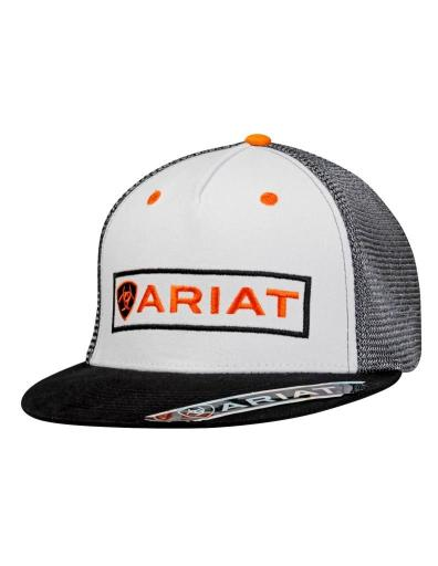 Ariat Western Hat Mens Baseball Snap Back One Size White Black 1508105 1391210