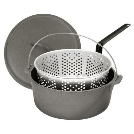 Barbour 7460 Bayou Classic 8.5 Quart Dutch Oven And Lid With Perforated Lid And Aluminum Basket