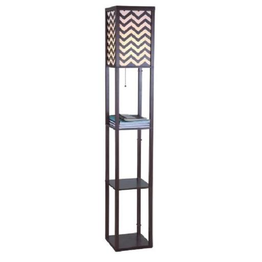 Q-Max 706958BRB 63 in. Brown Wooden Shelf Floor Lamp with Zig-Zag Shade Panels