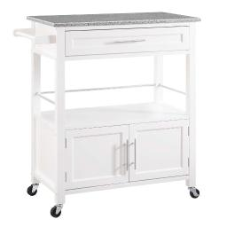 Cameron White Kitchen Cart with Granite Top
