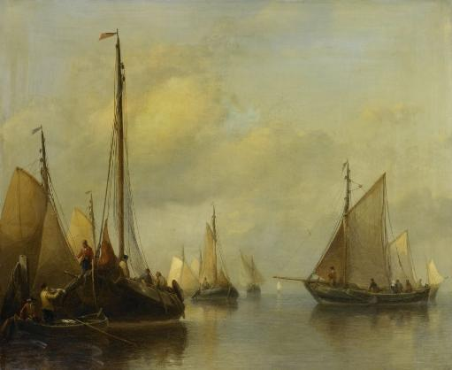Fishing Boats On Calm Water, By Antonie Waldorp, 1840-50, Dutch Painting, Oil On Panel. At Left The Catch Is Transferred To Men In A Row Boat.