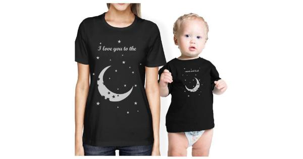 fa7ba4af2f 365 Printing Moon And Back Mom and Baby Matching Gift Shirts Cute ...