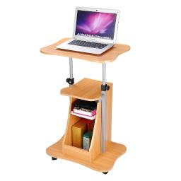 Yescom Adjustable Height Rolling Mobile Stand Laptop Desk Cart w/ Storage Office Beech