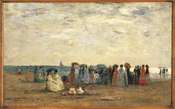 Bathers On The Beach At Trouville Poster Print EVCMOND025VJ604HLARGE