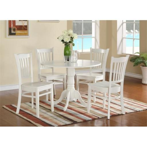 East West Furniture DLGR5-WHI-W 5 Piece Kitchen Nook Dining Set-Table and 4 Kitchen Chairs