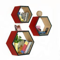 Romantic CharmHexagon Leather Wall Shelf / Bookshelf / Floating Shelf Set of 3