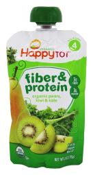 Happy Family - Happy Tot Organic Stage 4 Fiber & Protein Pouch Pears, Kiwi &