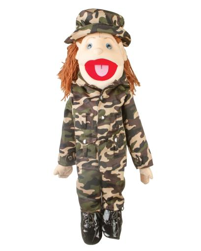 Sunny Toys GS4645 28 In. Brunette-Haired Girl In Army Uniform, Full Body Puppet B2C7770FD6BA470A