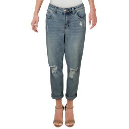 Celebrity Pink Womens Plus Ripped Mid-Rise Girlfriend Jeans