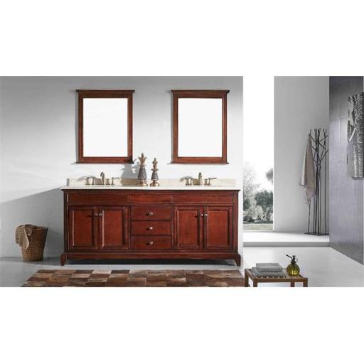 Elite Stamford 72 Inch Brown Solid Wood Bathroom Vanity Set with Double OG Crema Marfil Marble Top & White Undermount Porcelain Sinks