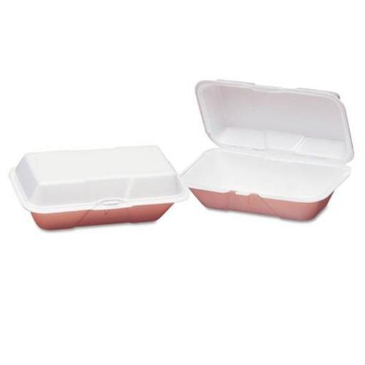 9.5 x 5.25 x 3.5 in. Foam Hoagie Hinged Container Large, White - 100 per Bag