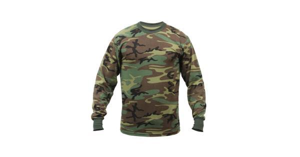 Men's Long Sleeve T-Shirt Woodland Camo