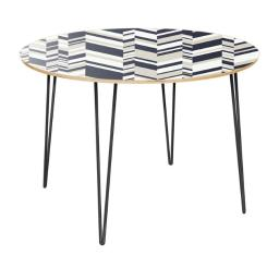 NyeKoncept 12012827 42 x 42 x 28.75 in. Stella Hairpin Dining Table - Modern Slice, Natural & Black