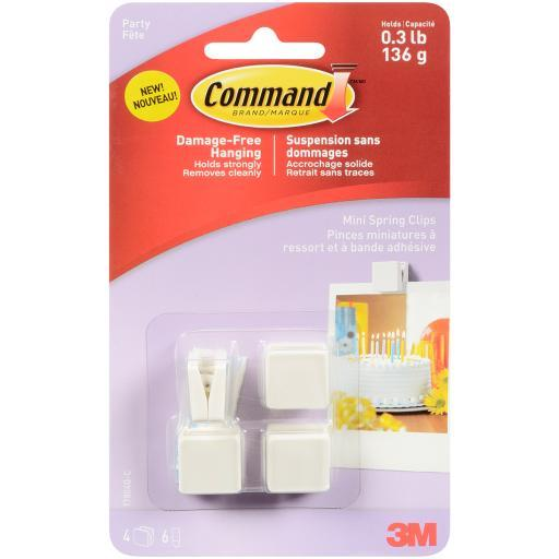 Command (TM) Party Mini Spring Clips-4 Clips And 6 Mini Clear Strips/Pkg