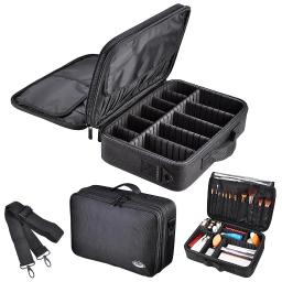 """AW 13"""" 1200D Pro Oxford Makeup Train Case Artist Cosmetic Organizer Storage Bag with Adjustable Dividers & Strap"""