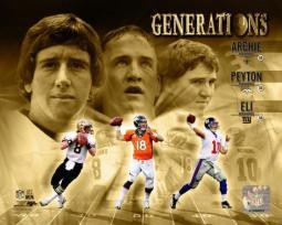 Mannings Generations Composite- Archie Manning, Peyton Manning, & Eli Manning Photo Print PFSAAQX16601
