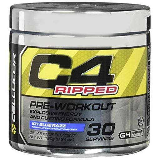 Cellucor 6550528 C4 Ripped Pre-workout Icy Blue Razz Dietary Supplement - 30 Serving