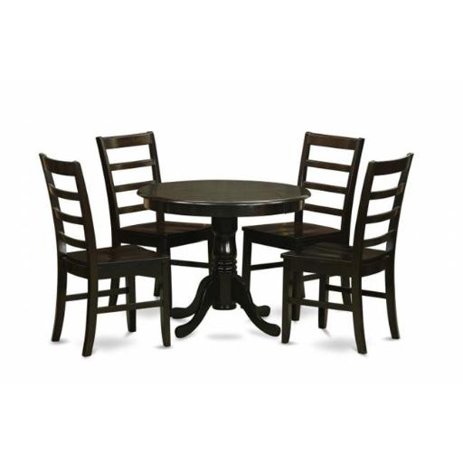 East West Furniture ANPF5-CAP-W 5 Piece Small Kitchen Table Set-Drop Leaf Table Plus 4 Kitchen Dining Chairs