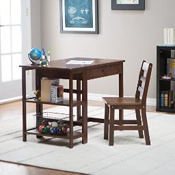 Lipper 584wn child desk and chair walnut