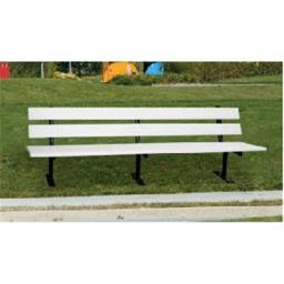 Engineered Plastic Systems TSLB6  6ft Trail Side Bench in White with Steel Legs