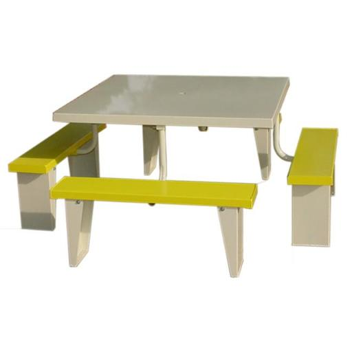 Prairie View PIC4848-Y 8 Seats Aluminum Square Picnic Table, Yellow - 30 x 72 x 72 in.