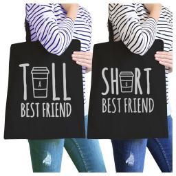 Tall Short Cup BFF Matching Canvas Bags Black For Teen Girls Gifts