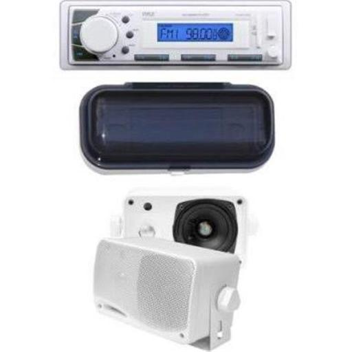 Pyle KTMRGS53 200W 3.5 in. Marine In-Dash Receiver with 3-Way Weather Proof Mini Box Speaker System, White