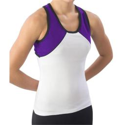Pizzazz Performance Wear 7800 -WHTPUR-AL 7800 Adult Tri-Color Top - White with Purple - Adult Large