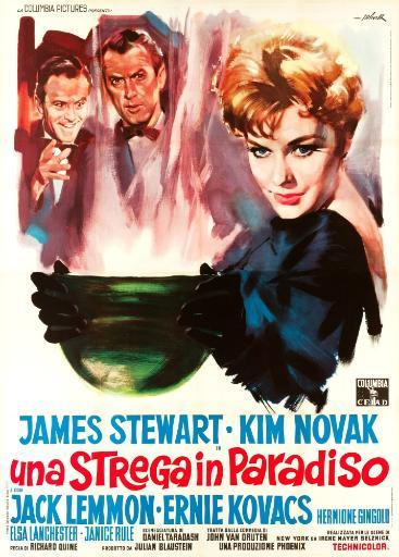 Bell Book And Candle L-R: Jack Lemmon James Stewart Kim Novak On Italian Poster Art 1958. Movie Poster Masterprint
