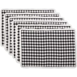 Seasons Crest 42510 12 x 18 in. Emmie Black Placemat, Set of 6