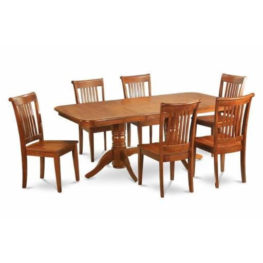East West Furniture NAPO7-SBR-W 7 Piece Formal Dining Room Set Table With A Leaf and 6 Dining Room Chairs