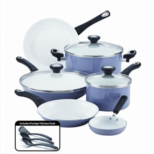 Farberware 17555 PURECOOK Ceramic Nonstick Cookware 12-Piece Cookware Set, Lavender
