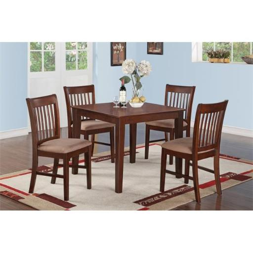 East West Furniture OXNO3-MAH-C 3 Piece Small Kitchen Table Set-Square Table and 2 Kitchen Dining Chairs