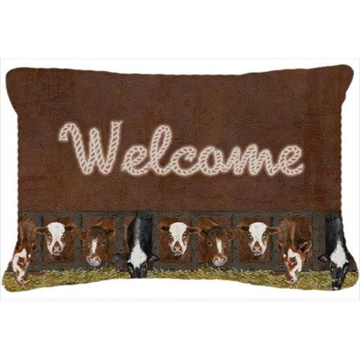 Carolines Treasures SB3058PW1216 Welcome Mat With Cows Indoor & Outdoor Fabric Decorative Pillow
