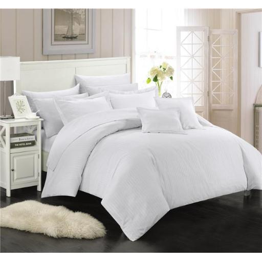 Chic Home CS3940-BIB-US 11 Piece Kennon Down Alternative Jacquard Striped Full & Queen Comforter Set, White with Sheet Set