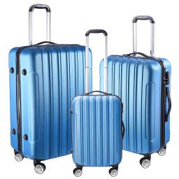 "3 Piece Luggage Set 20"" 24"" 28"" Dark Blue Rolling Travel Case Lockable ABS Suitcase Trip"