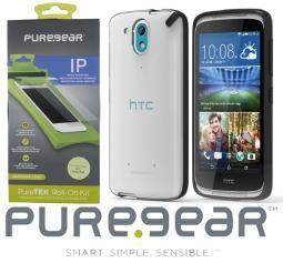PUREGEAR BLACK/CLEAR CASE COVER + SCREEN PROTECTOR FOR HTC DESIRE 526 526G